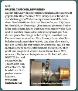 Artikel KFZ-Wirtschaft MTS Turbolader 04-2015